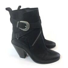 ALLSAINTS Size 37 UK4 Black Leather Ankle Buckle Heeled Biker Rider Boho Boots