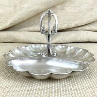 Christofle Triple Serving Tray Dish French Art Nouveau Glass Bowls Silver Plated