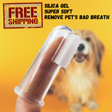 Dog Cat Finger Toothbrush Soft Pet Bad Breath Clean Tartar Dental Teeth Brush