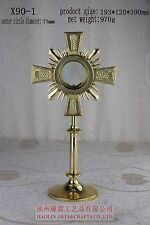 """Brass Monstrance Reliquary with Luna Church or Home Catholic+Relic+15.36""""H X90-1"""