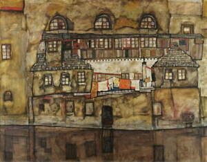 Egon Schiele House Wall on the River Poster Reproduction Giclee Canvas Print