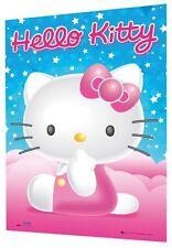 Hello kitty rose bleu étoiles 3D Poster large 48 cm x 67cm enfants caractère bow