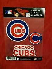 Chicago Cubs Triple Sticker Multi Decal Spirit Sheet Auto Home Baseball