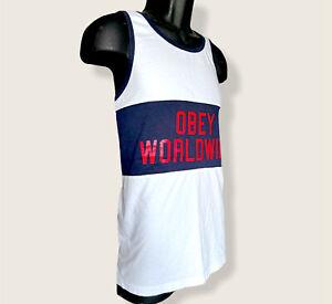 Obey logo Black white  Tank Top men's size Medium Prelude Worldwide Clean Washed