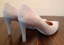 Staccato - Soft Gray/Silver with Swarovski Elements Crystals Pointy Toe Heels