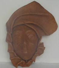 Leather Face Mask Art Sculpture Caribbean Wall Hanging Collectible Home Deco