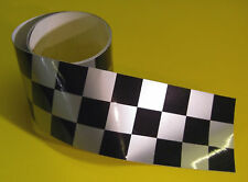 CAFE RACER CHEQUERED TAPE SILVER 1220x30mm 2 LENGTHS!