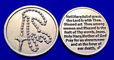 """Rare Hail Mary Prayer Pocket Token Devotion Rosary Virgin Mary 1-1/8"""" Italy"""
