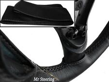 FOR AUSTIN SOMERSET 52-54 REAL BLACK LEATHER STEERING WHEEL COVER GREY STITCHING