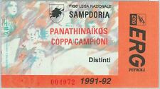 68533 - BIGLIETTO PARTITA CALCIO 1991/2: SAMPDORIA/ PANATINAICOS  Champions Cup
