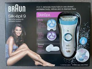 BRAUN Silk Epil 9 SkinSpa 4-IN-1 Wet & Dry Epilierer Gesichtsreinigung Peeling