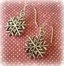 Christmas Xmas Snowflake Drop Dangle Earrings - 925 Sterling Silver Ear Hooks