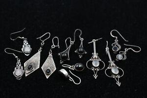 6 x .925 Sterling Silver EARRINGS inc. Onyx, Rose Quartz, Ornate (28g)