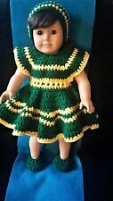 """Handmade doll clothes for 18"""" American Girl Doll Crochet Green with Yellow trim"""