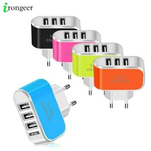 Fast Charger EU Europe Plug for Phones 3.1A  European Travel Adapter with 3 USB