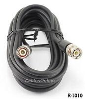 10ft. RG58 Coaxial Cable w/ BNC Male Connectors Black
