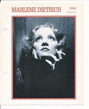 """MARLENE DIETRICH MOVIE STAR ENCYCLOPEDIA 5 3/4"""" X 7"""" CARD-1930s"""
