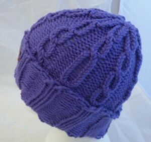 Cable Stitch Purple Ski Hat- Teen / Adult one size - hand made - Brand New