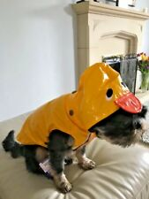 "Small Dog Puppy Duck Mac Waterproof Coat Yellow S 12"" Pups Jacket Hood Ancol Toy"