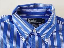 Ralph Lauren Custom Fit Herren Hemd Kurzarm Blau/Weiß Gestreift Gr. S / 14