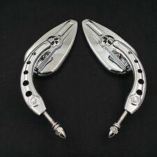 Chrome Skull Side Mirrors For Harley Davidson CVO Street Glide Tri Glide Ultra