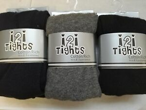 Girls Winter Warm Thick Cotton School Tights Pack Age 2 - 12 Plain Good Quality