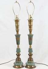 Rewired Green Marble Granite Brass Candlestick Vintage Table Lamps Pair Stone