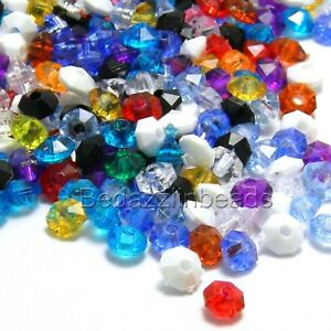 100 Little Assorted Color 6mm Faceted Round Rondelle Plastic Acrylic Disc Beads