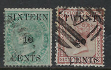 CEYLON : 1882 surcharges 16c on 24c and 20c on 64c SG142/3 used
