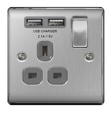 BG Nexus Nbs21uw - Stainless Steel Single Sockets With USB Charger Ports