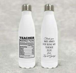Teacher Nutrition Facts Gift Personalised Water Bottle End Of Term School