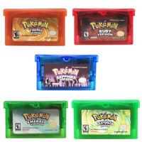 Games Card Carts Fan Advance Cartridge For Gameboy Pokemon NDSL GBC GBM GBA SP