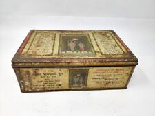 Vintage Hindu God Vishnu Laxmi Printed Adv Tin Box Saffron Advertisement Tin Box