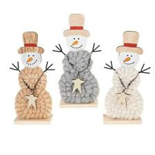 Woolly Christmas Set Of 3 Standing Snowmen