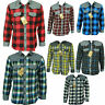 Mens Long Sleeve Flannel Shirt Cotton Check Print Casual Work Smart Lumberjack