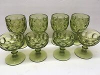 Lot Vintage IMPERIAL Green Glass Thumbprint 4 Sherbert and 4 Goblets MINT