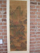 Chinese scroll painting on silk -Man on the bridge, Jin Cheng(?)