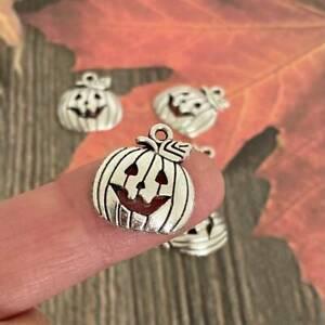 5 10 Halloween Charm Pumpkin Charms Silver Tibetan Gothic Steampunk earrings