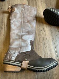 STUNNING Sz 6.5 SOREL SLIMPACK TALL LEATHER Rain RIDING Boots WATERPROOF Tusk Co