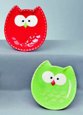 Christmas Ceramic Plate Red or Green Owl Design NEW