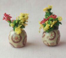 TWO HANDMADE DOLLS HOUSE FLOWER POTS WITH FLOWERS