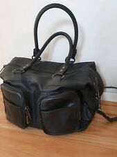 Black Leather Status Anxiety Baby/ Nappy / Weekender Bag