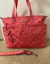 COACH SIGNATURE NYLON MULTIFUNCTION DIAPER BABY Book BAG TOTE PINK Travel Strap