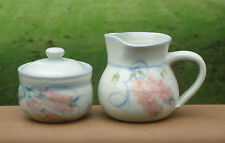Lovely Country Style Australian Pottery Milk Jug & Sugar Bowl *Pink Bottle Brush