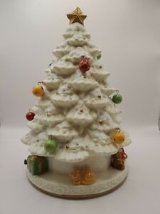 Vintage Avon Christmas Tree Fiber Optic Lighted w/Box Porcelain Musical