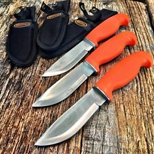 3LOT Orange Hunters Choice Rubber Handle Hunting Knife Sheath BOWIE Tactical -E