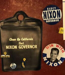 1962 Richard M Nixon For Governor Political Campaign Memorabilia And Buttons