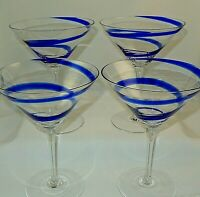 "SWIRLINE COBALT BLUE by Pier 1 MARTINI Glasses 6 5/8"" Tall Set of 4"