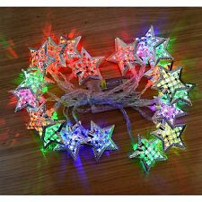 20 LED Silver Star String Fairy Lights Wedding Bday Home Party Room Decorations