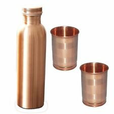 Vintage 100% Copper and 2 Glass Water Bottle Hammered Health Ayurveda Leak Proof